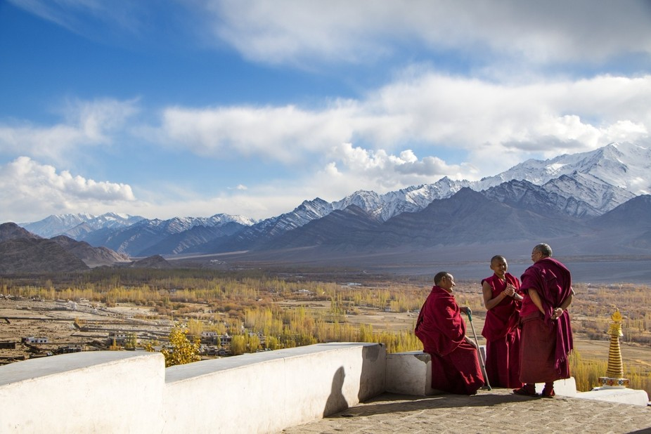 Monks speaking in the buddhist monastery of Thiksey, Western-Tibet