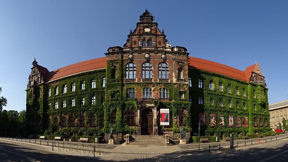A panoramic shot of the museum in Wroclaw, Poland