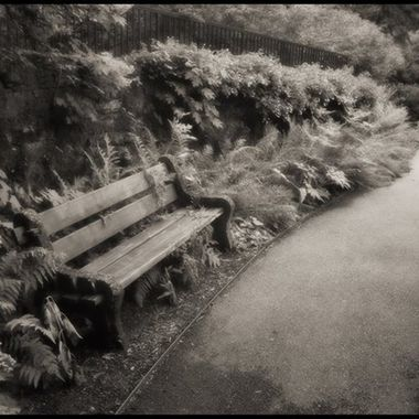 Private bench on estate garden grounds