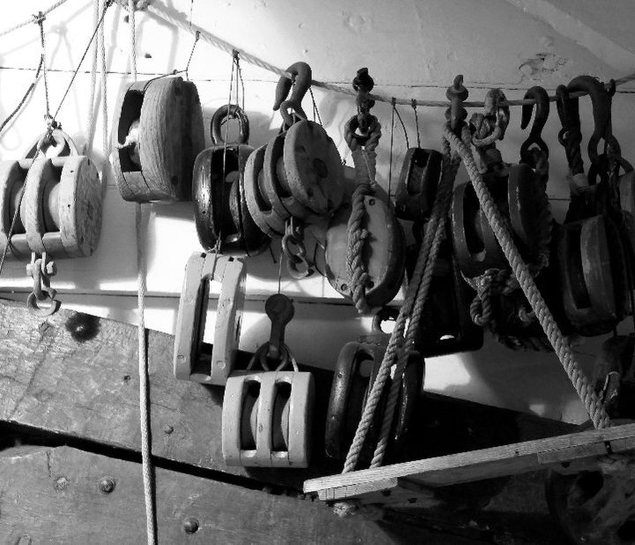 These pully's are in the hull of the USS Constellation built in 1854 and is docked in Baltimore harbor.
