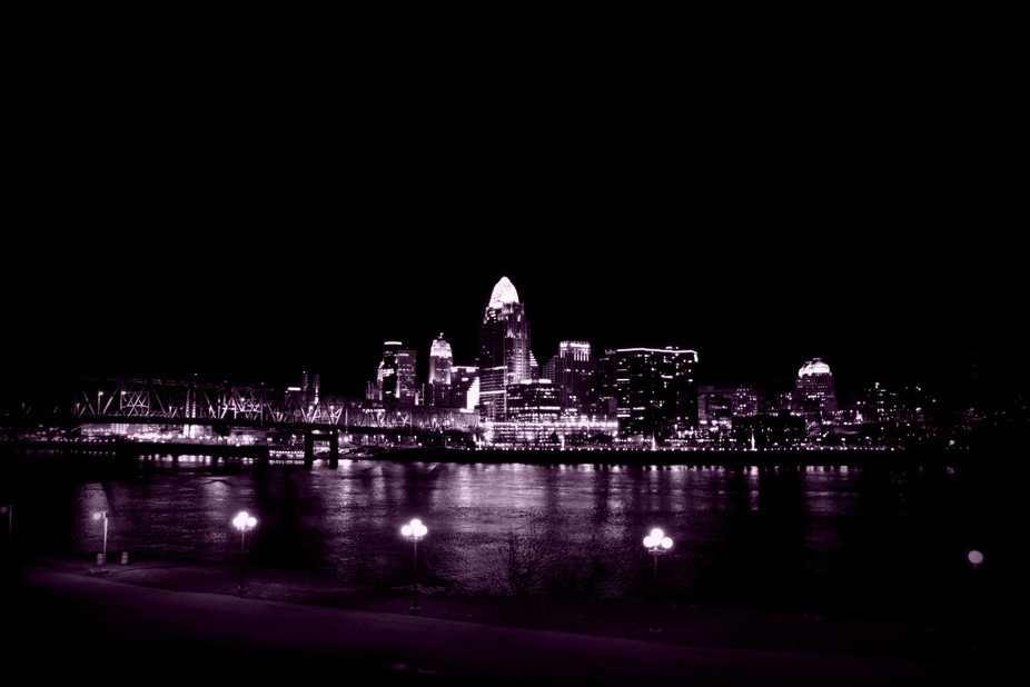 Tinted Cincinnati Skyline at Night