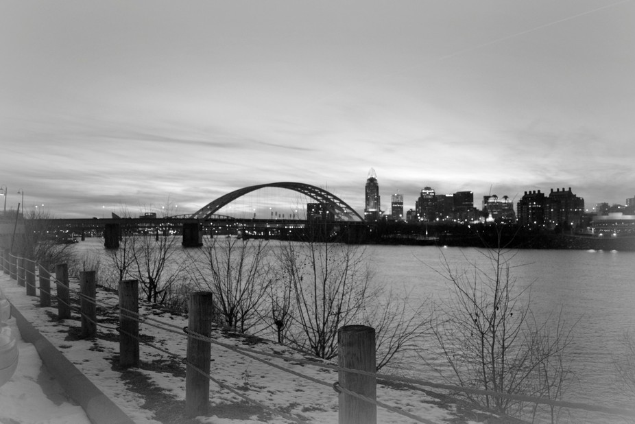 Ohio River with Cincinnati in Background BW