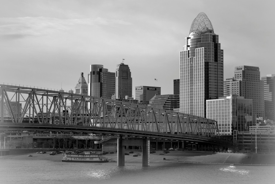 Close Up Cincinnati Afternoon Black & White