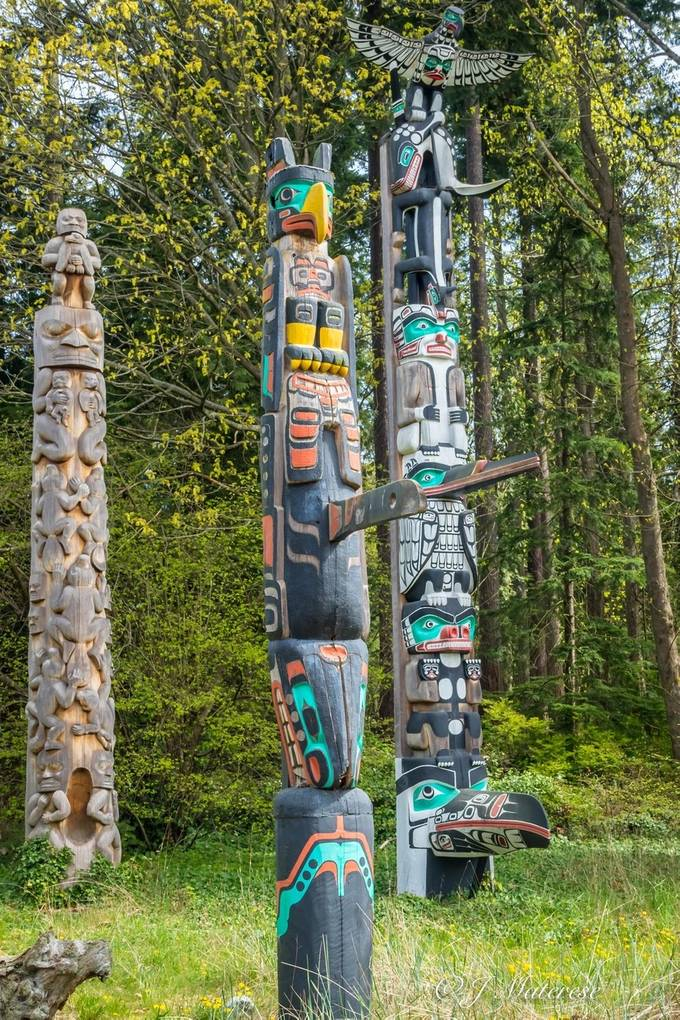 The amazing totem poles in Stanely Park in Vancouver BC, Canada.