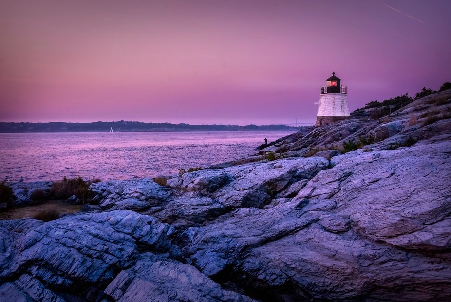 Here's a landscape view of my favorite Newport (RI) area lighthouse. It's a small one, on a r...