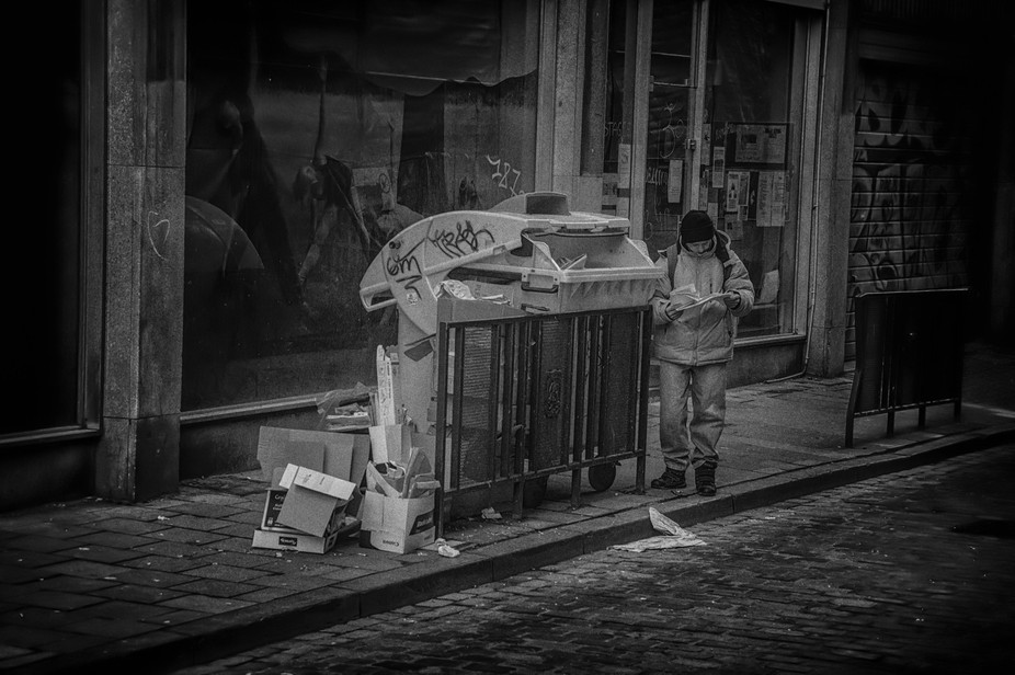 One week after the terror attacks at Brussels, homeless people.