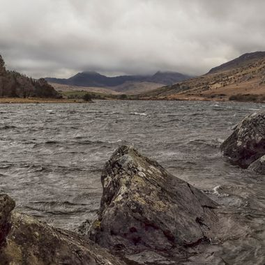 Mymbyr Lake, Capel Curig with the Snowdon Horseshoe beyond..