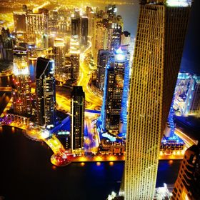 Night view of Dubai marina, from the 84th floor of the building known as The Torch. I was amazed by the night lights in this country, but most of...