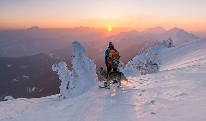 Snowboarder and his dog by alekrivec - Creative Travels Photo Contest