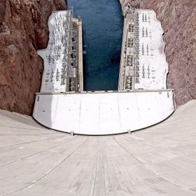 A view looking down Hoover Dam in Nevada.