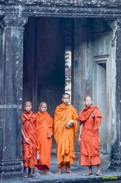 Monks Visiting, Angkor Wat, Cambodia