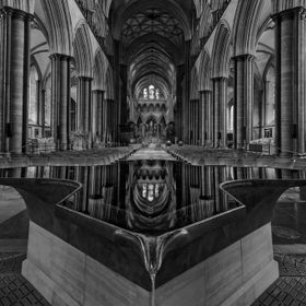 Refections in the font of the Salisbury cathedral