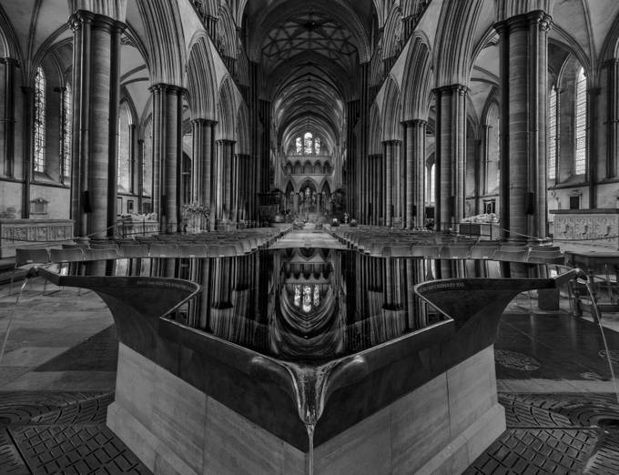 Font at Salisbury Cathedral by ceridjones - A Black And White World Photo Contest