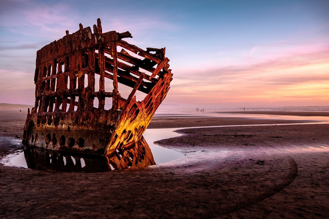 This photograph was captured at the shipwreck remains of the Peter Iredale, at Fort Stevens, near Astoria, Oregon.
