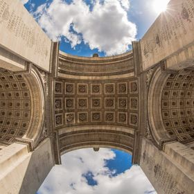 The Arc de Triomphe in Paris shot in 2015 with a Canon 8-15mm Fisheye.
