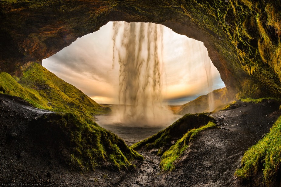 Seljalandsfoss is one of the best known waterfalls in Iceland and it's possible to walk ...