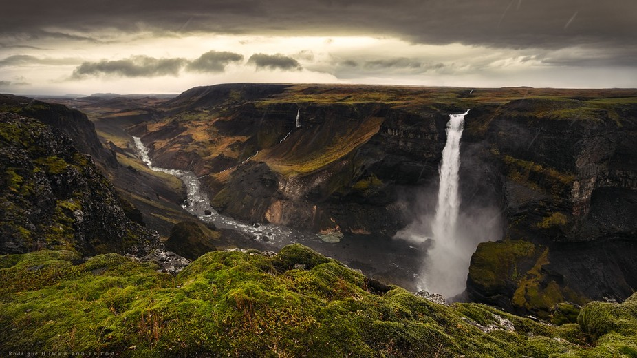 The waterfall Háifoss is situated near the volcano Hekla in the south of Iceland. The river Foss...