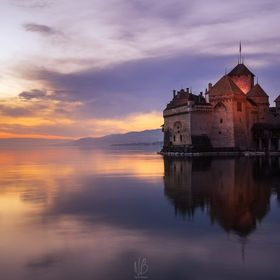 Chillon Castle on the Lake Geneva shore...