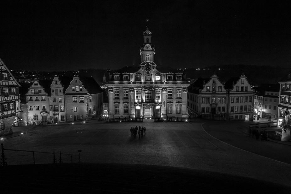 The town square at night, Schwabisch Hall, Germany. Composed of 3 photos, you can see the &qu...