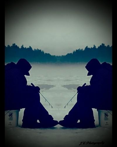 mirrored fisherman