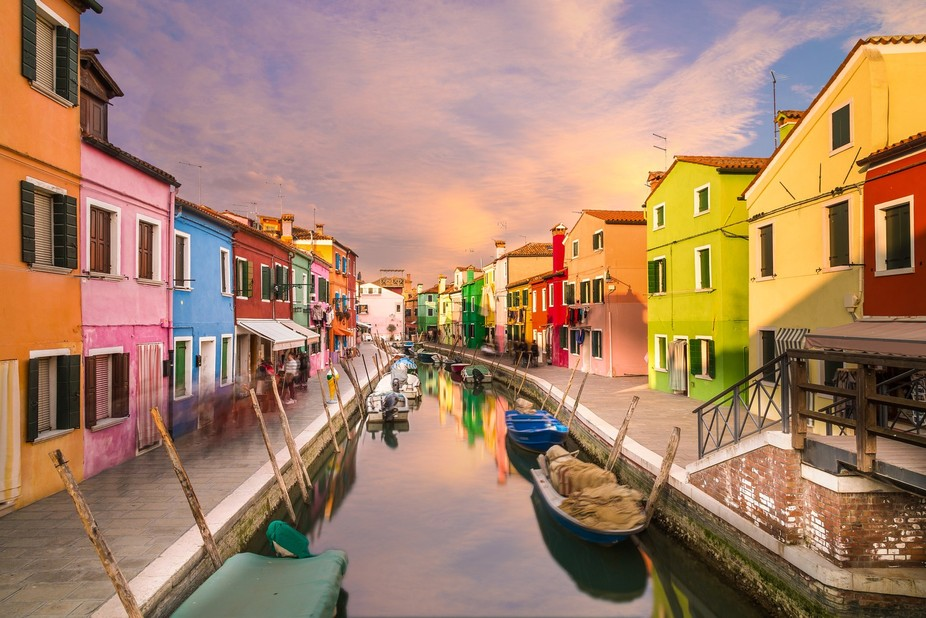 Colourful Burano at Sunset