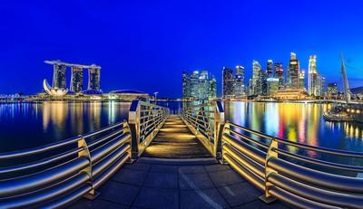 Blue Hour of Singapore CBD Skyline