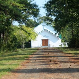 Down a gravel road.  This is the church I was married in.