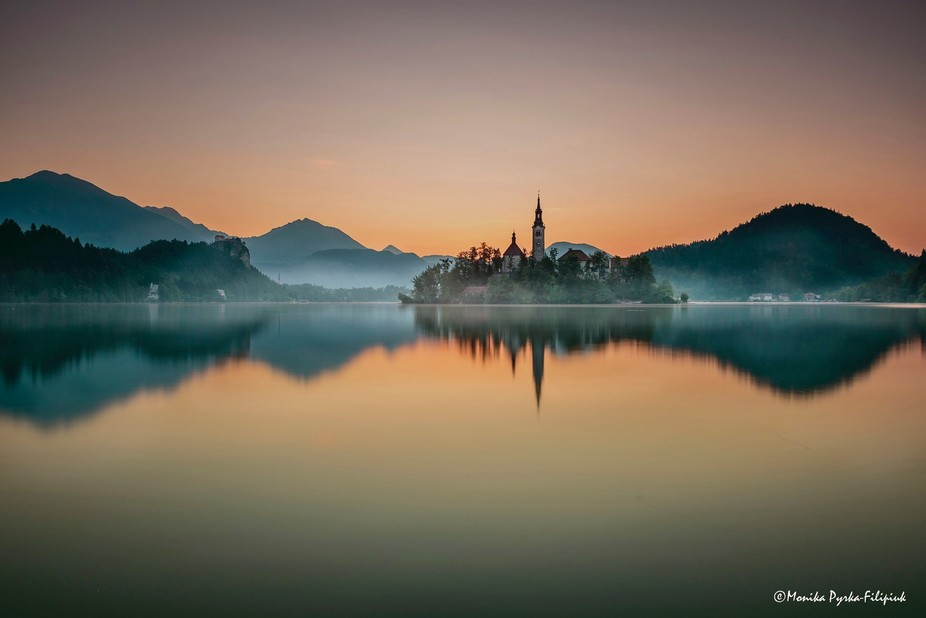 a foggy morning on the Bled Lake, Slovenia