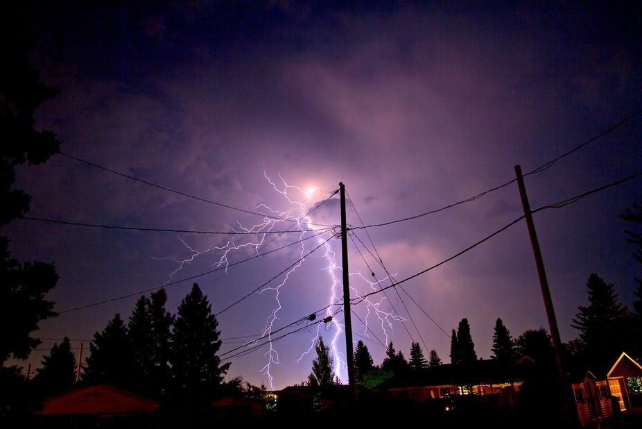 Lightning Strikes during a August thunderstorm in Saskatchewan.