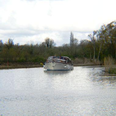 Pleasure cruiser on the Norfolk Broads, UK.