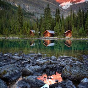 Sunset at beautiful Lake O'hara, near Banff National Park in Alberta Canada.