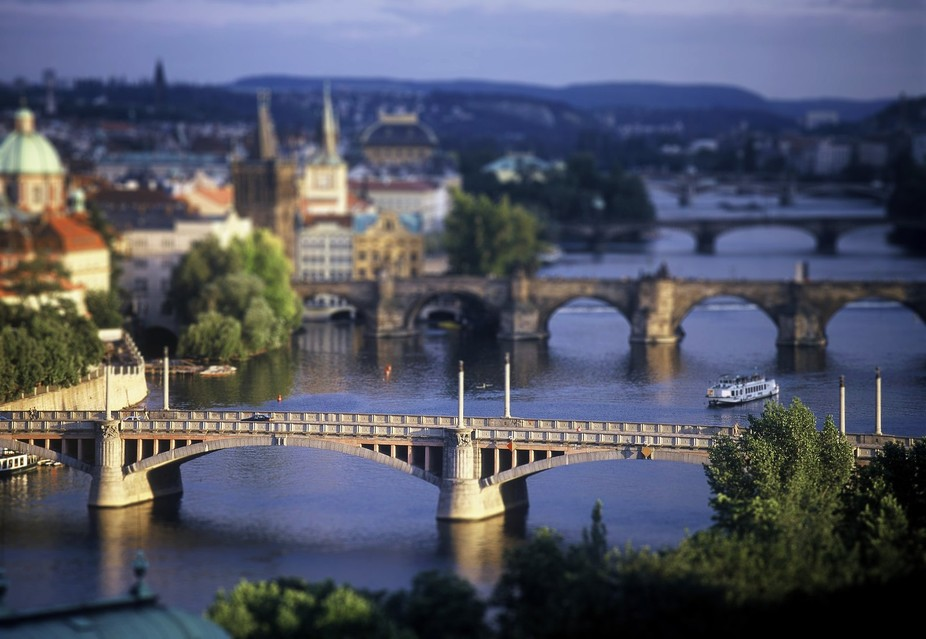 Tilt shift lens used for capturing Prague