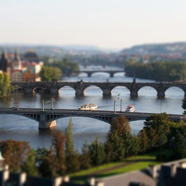 Tilt Shift Lens capturing Prague bridges.