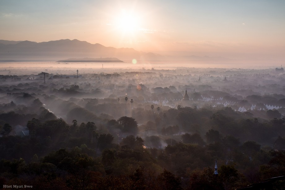 A beautiful foggy morning from the view point of my home town,Mandalay.