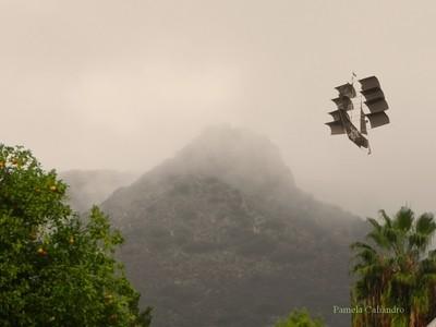 Mountain View With Ship Kite