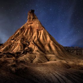 This shot is a combination of several exposures. The Bardenas Reales is a semi-desert natural region, or badlands, of some 42,000 hectares (100,0...