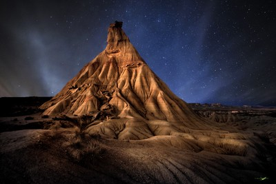 Desert lights by night in the Bardenas