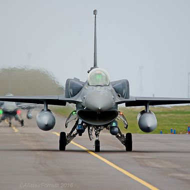 Turkish Air Force F16s Taxi for take off at RAF Lossiemouth whilst taking part in Joint Warrior 16/1