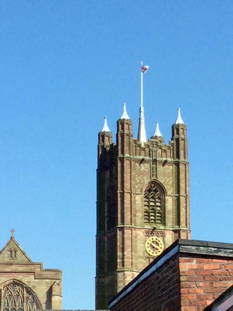 In Atherton showing the flag of St George proudly flying