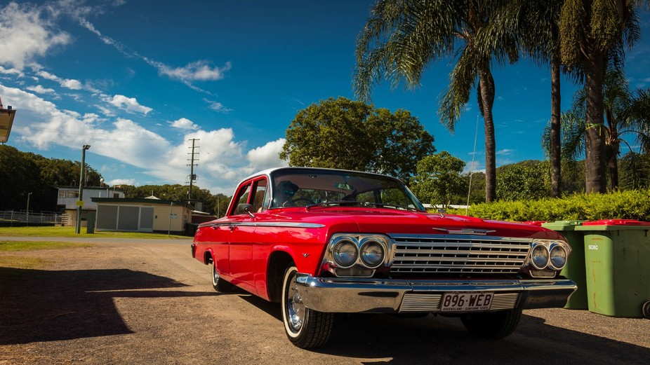 A beautifully restored 1964 Chevrolet Bel Air showing at the Smiles of Strength Motoring Extravag...
