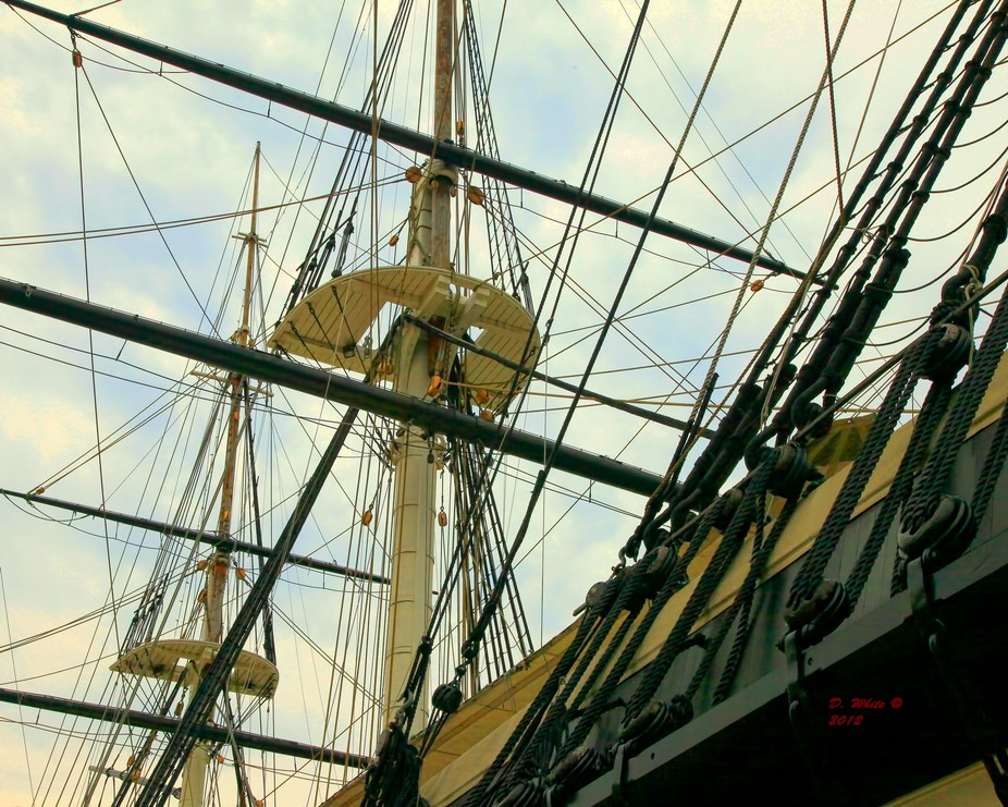 Launched in 1854 the Sloop of War Constellation sits quietly in her permanent berth in Baltimore ...