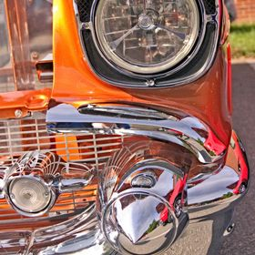 The 1957 Chevy Bel Air has always been one of my favorite rides, and this immaculate tangerine custom (with a Corvette mill!) caught my eye at th...