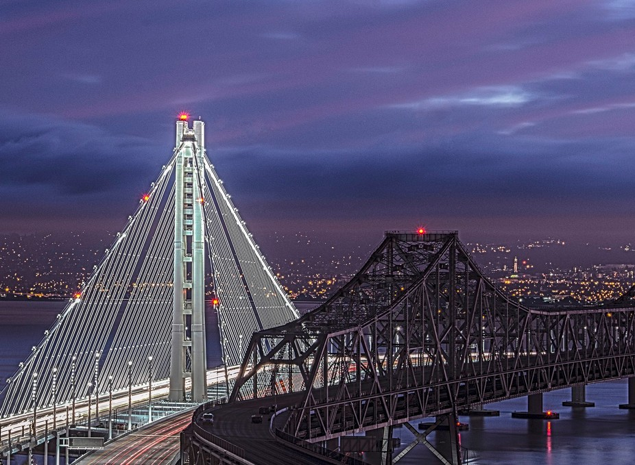 This is the Bay Bridge that connects Oakland to San Francisco.  This peice became historical when...