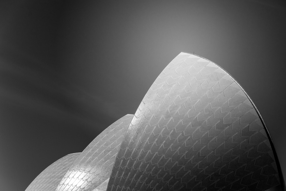 Black and white conversion of the Sydney Opera House sails