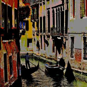 Small canal scene in Venice - posterization worked well with this image