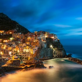 Blu hour on Manarola, cinque terre National Park