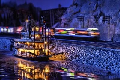 minnesota model - railroad railway train - toy river boat