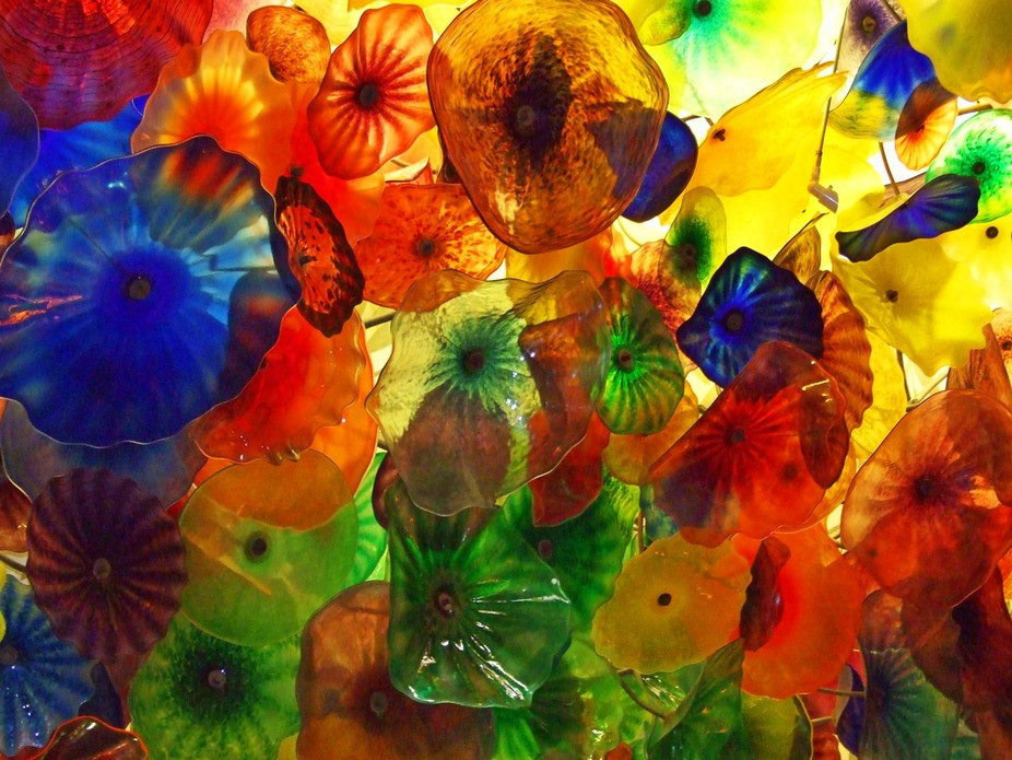 Detail from Dale Chihuly's spectacular glass ceiling sculpture in the lobby of the beaut...