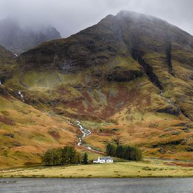 Serenity and beyond..  I liked the little cottage in the Scottish highland valley. Autumn colors and fog.  (That's Achnambeithach Cottage, L...
