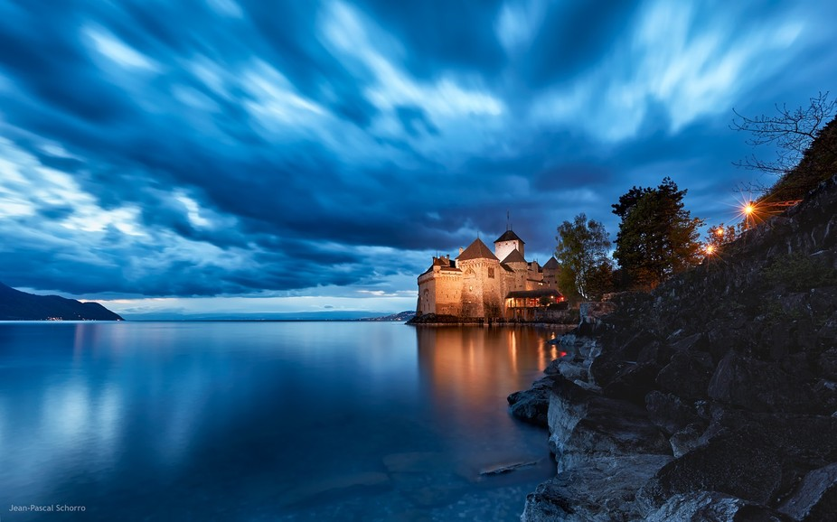 Blue hour shot with long exposure of the castle of Chillon in Montreux-Territtet